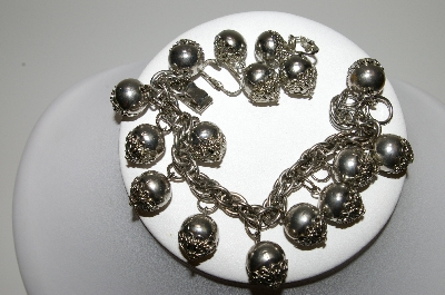 "+MBA #99-047  ""Vintage Silvertone Fancy Bead Bracelet & Matching Earring Set"""