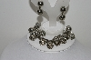 "MBA #99-047  ""Vintage Silvertone Fancy Bead Bracelet & Matching Earring Set"""