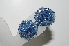 "MBA #41E-058  ""Vintage Silvertone Blue Crystal Bead Clip On Earrings"""