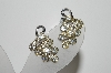 "MBA #41E-144  ""Vintage Silvertone Clear Crystal Rhinestone Earrings"""