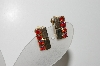 "MBA #41E-170  ""Vintage Goldtone Red AB Crystal Rhinestone Clip On Earrings"""