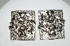 "+MBA #41E-130  ""Vintage Silvertone Square Fancy Clip On Earrings"""