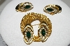 "MBA #41E-124  ""Kramer Gold Plated Mesh Style Pin & Matching Earring Set"""