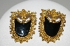 "+MBA #41E-110  ""Vintage Goldtone Black Enamel Pierced Earrings"""