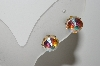 "MBA #41E-184  ""Vintage Fancy Cut AB Crystal Screw Back Earrings"""