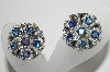 "**MBA #41E-218  ""Vintage Silvertone Peacock Colored AB Crystal Clip On Earrings"""