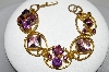 "MBA #41E-303  ""Vintage Goldtone Purple Glass Stone Bracelet"""