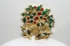 "+MBA #41E-236  ""Vintage Goldtone Fancy 2 Bell Christmas Pin"""