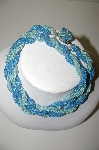 "MBA #41E-268  ""Vintage Made In Japan Twisted Green & Blue Seed Bead Necklace"""