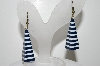 "MBA #41E-175  ""Vintage Blue & White Lucite Dangle Pierced Earrings"""