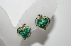 "MBA #41E-052  ""Vintage Silvertone Green Crystal Rhinestone Heart Shaped Earrings"""