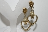 "+MBA #41E-101   ""Vintage Goldtone Fancy Heart & Rose Faux Pearl Dangle Earrings"""