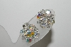 "**MBA #41E-033  ""Vintage Silvertone AB Crystal 9 Bead Cluster Clip On Earrings"""