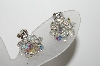 "**MBA #41E-029  ""Vintage Silvertone Small AB Crystal Bead Cluster Earrings"""