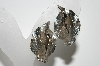 "+MBA #41E-135  ""Vintage Silvertone 3 Leaf Clip On Earrings"""
