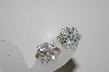 "MBA #41E-089  ""Vintage Silvertone AB Crystal Cluster Earrings"""