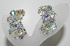 "MBA #41E-093  ""Vintage Silvertone AB Crystal Long Cluster Earrings"""