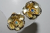 "MBA #41E-062  ""Vintage Gold Plated AB Crystal Rhinestone Flower Earrings"""