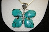 "** MBA #S19-1265    ""Chubby"" Green Turquoise ButterFly Pendant"