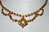 "**MBA #41E-003  ""Vintage Goldtone Citrine Colored Crystal Rhinestone Choker"""