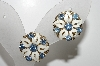 "MBA #41E-069  ""Vintage Goldtone White Enamel & Blue Crystal Rhinestone Flower Earrings"""