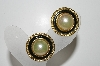 "+MBA #41E-072  ""Vintage Goldtone Black Enamel & Faux Glass Pearl Clip On Earrings"""