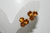 "**MBA #41E-080  ""Vintage Goldtone Citrine Colored Rhinestone Screw Back Earrings"""