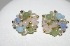 "+MBA #41E-041  ""Vintage Goldtone Pastel Acrylic Bead & Faux Pearl Cluster Pierced Earrings"""