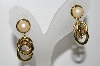 "+MBA #41E-045  ""Vintage Gold Plated Faux Pearl Pierced Earrings"""