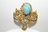 "+MBA #E42-113  ""Vintage Goldtone Faux Turquoise Double Dragon Pin"""