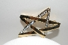 "+MBA #E42-122  ""Vintage Gold Plated Clear Crystal Rhinestone Star Pin"""