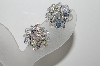 "MBA #E42-136  ""Vintage Silvertone AB Crystal Cluster Clip On Earrings"""