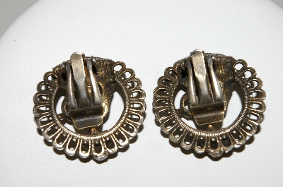 "MBA #E42-173  ""Vintage Antiqued Metal Oriental Style Clip On Earrings"""