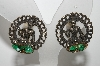 "+MBA #E42-173  ""Vintage Antiqued Metal Oriental Style Clip On Earrings"""