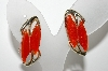 "+MBA #E42-207  ""Vintage Goldtone Orange Thermoplastic Clip On Earrings"""