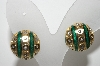 "MBA #E42-213  ""Vintage Goldtone Green Enamel & Clear Crystal Rhinestone Clip On Earrings"""