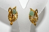 "+MBA #E42-196   ""Vintage Goldtone Green Polished Rock Leaf Style Clip On Earrings"""