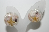 "+MBA #E42-200 ""Vintage Lucite Sea Shell Embeded Clip On Earrings"""