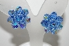 "MBA #E42-194  ""Vintage Silvertone Blue AB Crystal Bead Cluster Clip On Earrings"""