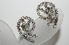 "MBA #E42-149  ""Vintage Silvertone Fancy Clear Crystal Clip On Earrings"""