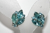 "MBA #E42-179  ""Vintage Silvertone Blue Crystal Rhinestone Clip On Earrings"""