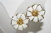 "+MBA #E42-143  ""Vintage Goldtone White Enamel Flower Earrings"""