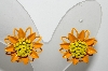 "+MBA #E42-166  ""Vintage Orange & Yellow Enameled Flower Earrings"""