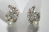 "MBA #E42-154  ""Vintage Silvertone Clear Crystal Rhinestone & Faux Pearl Clip On Earrings"""