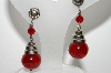 "+MBA #E42-223  ""Vintage Silvertone Red Glass Bead Screw Back Earrings"""
