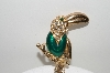 "+MBA #E42-187  ""Vintage Goldtone Green Enamel & Clear Crystal Rhinestone Toucan Pin"""