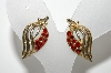 "MBA #E42-218  ""Coro Goldtone Red Crystal Rhinestone Screw Back Earrings"""