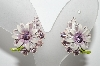 "MBA #E42-160  ""Vintage Lavender Enameled & Lavender Crystal Rhinestone Fancy Flower Earrings"""