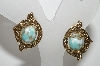 "MBA #E42-170  ""Sarah Coventry Goldtone Faux Turquoise Clip On Earrings"""