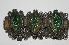 "MBA #E42-052  ""Vintage Green Art Glass Linked Bracelet"""